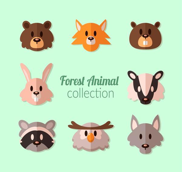 0 点 关键词: 8款扁平化森林动物头像矢量图,熊,狐狸,兔子,浣熊