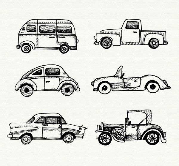 面包车,卡车,轿车,跑车,老爷车,甲壳虫,交通工具,手绘,车辆,矢量图,ai