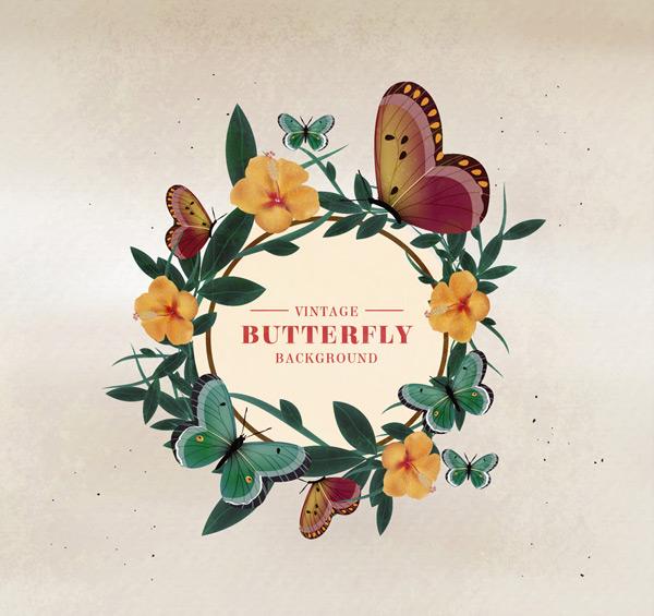 复古花环和蝴蝶
