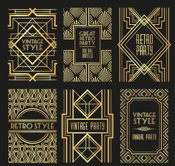 金色花纹卡矢量