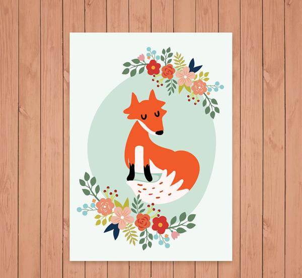 花卉和狐狸卡片