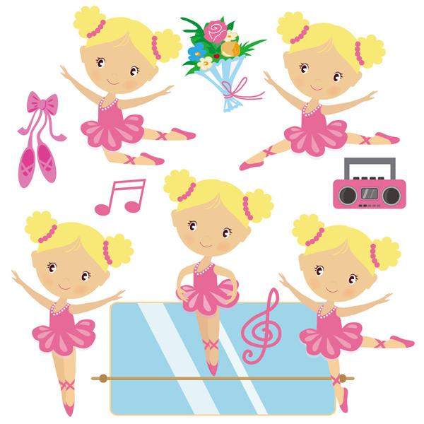 女孩,跳舞,芭蕾,舞鞋,收音机,音符,花朵,练舞房,卡通,儿童,可爱,背景