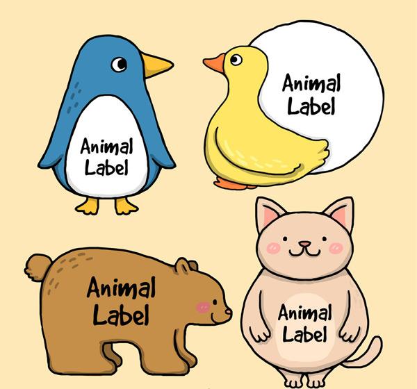 彩绘动物标签_素材中国sccnn.com