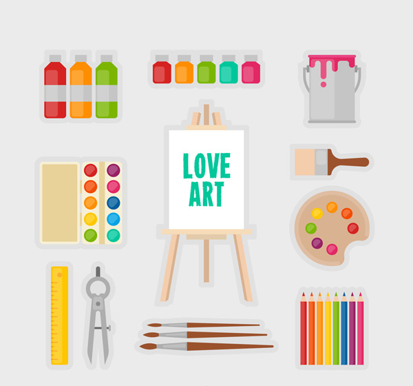 11款扁平化绘画工具矢量素材,颜料,水彩,画笔,刷子,调色板,圆规,尺子,彩色铅笔,画板,画架,油漆桶,扁平化,绘画,工具,艺术,矢量图,AI格式