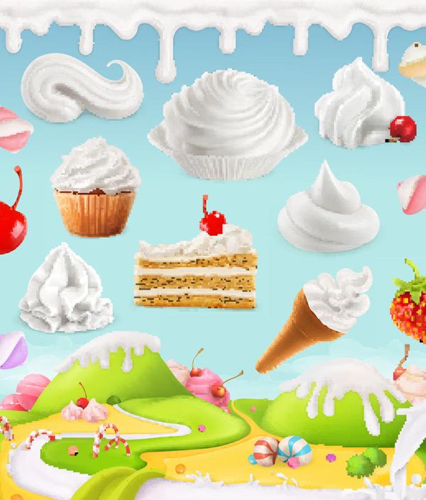 奶油蛋糕甜品卡通背景矢量素材,卡通,甜品,美食,水果,奶油,融化,烘培