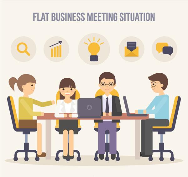 矢量职业人物所需点数: 0 点 关键词: 会议中的商务人物矢量素材
