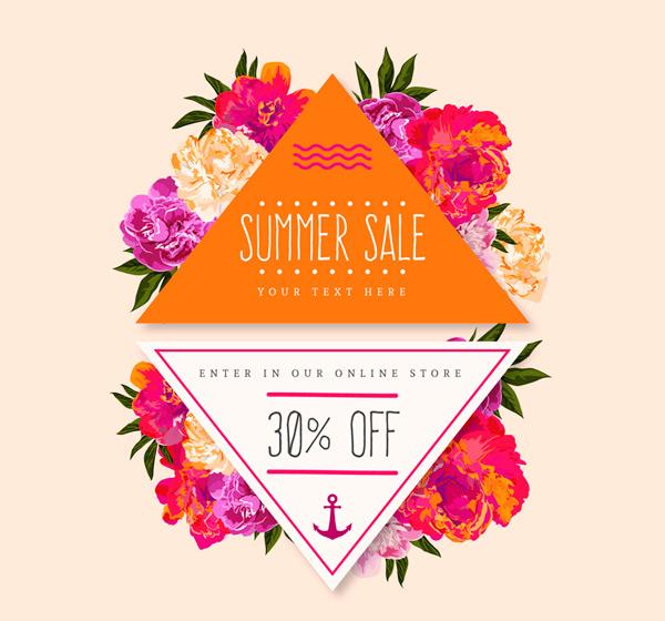 夏季花卉促销标签