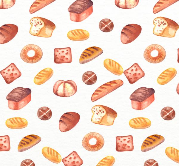 彩绘面包无缝背景