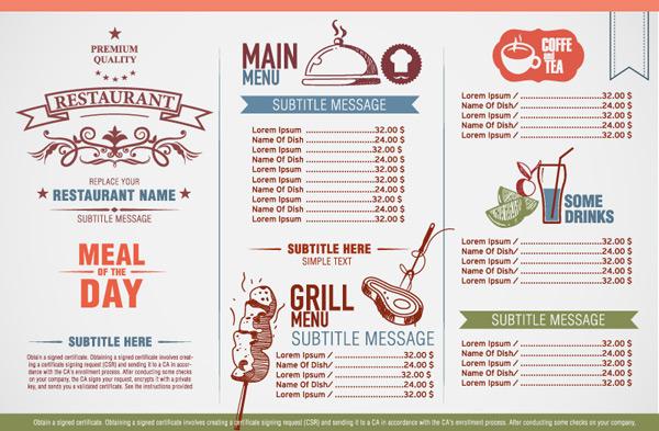 优雅餐厅菜单