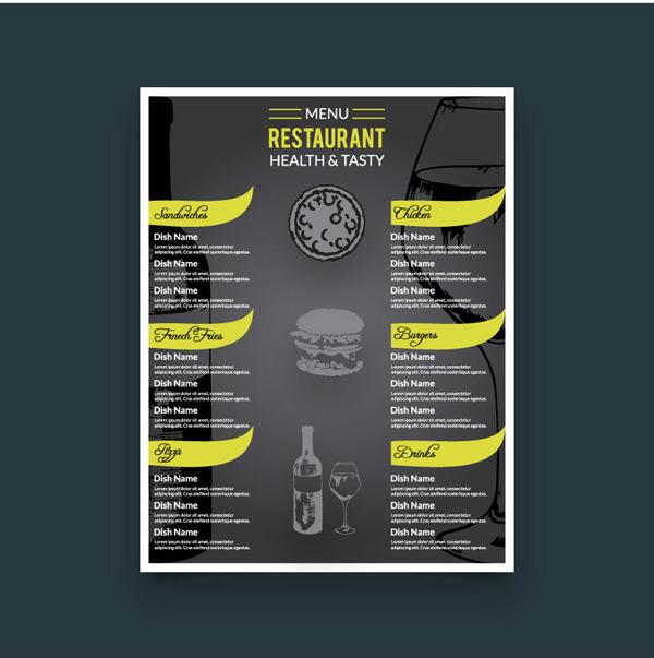 时尚黑色餐厅菜单