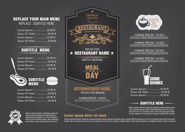 餐厅菜单设计矢量