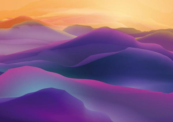 唯美手绘水彩风景矢量素材,紫色,黄色,山峦,云层,风景,美景,水彩,手绘