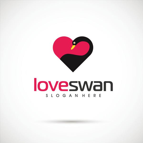 彩色爱心小鸟标志设计矢量素材,爱心,小鸟,动物,天鹅,保护,爱护,标志
