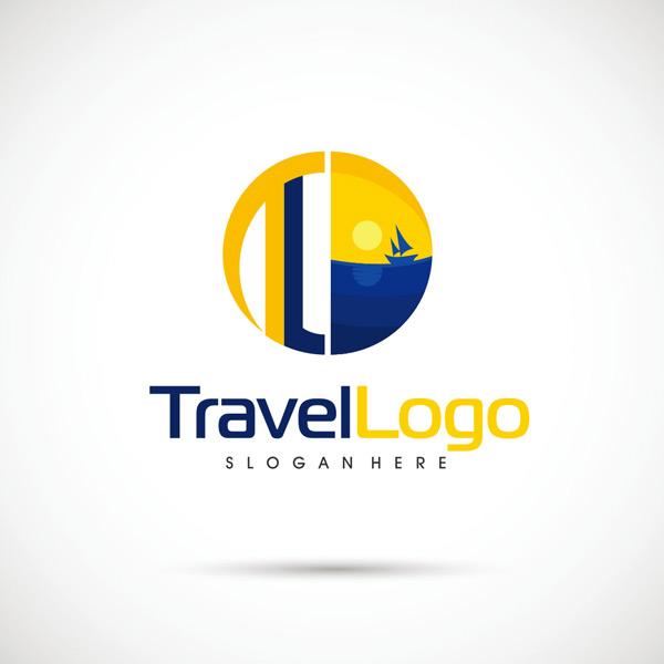 黄色,蓝色,标志,设计,太阳,大海,帆船,旅行,旅游,行业,图标,创意,抽象