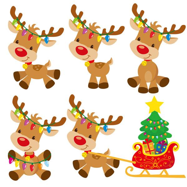 多款可爱卡通圣诞麋鹿矢量素材,圣诞节,圣诞麋,鹿动物,卡通,可爱,背景,插图,装饰,插图,雪橇车,圣诞树,礼物,喜庆,节日,矢量素材,EPS