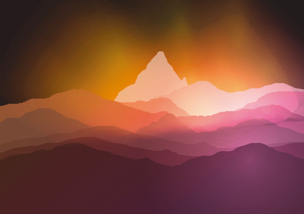 多彩渐变唯美抽象风景绘画矢量素材,多彩,渐变,唯美,水彩绘画,剪影