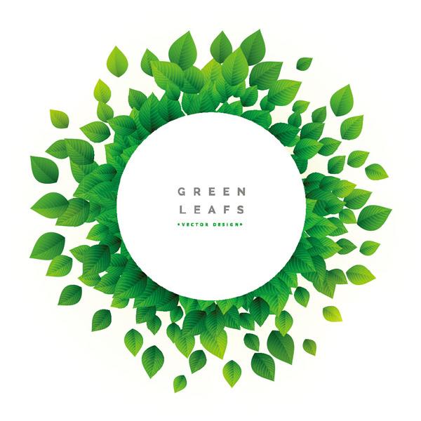 圆形绿叶边框背景