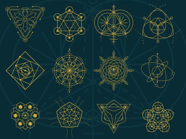 金色几何图形图案图片