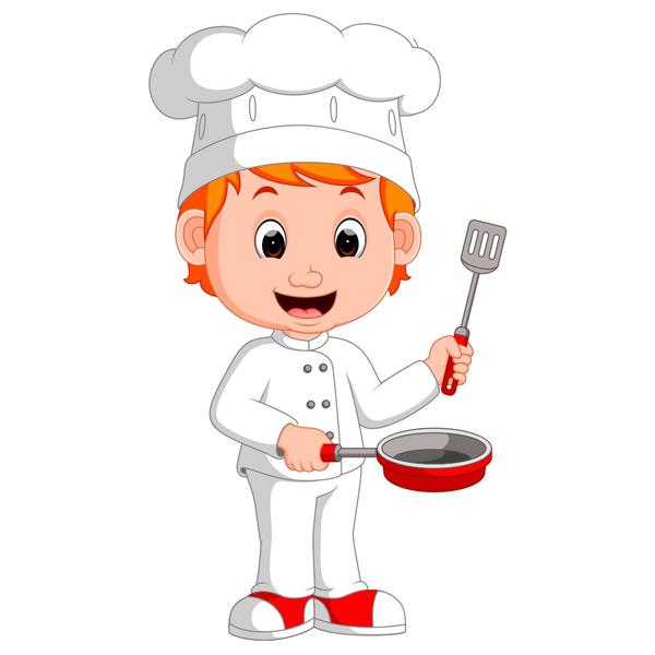 拿着炒锅合锅铲的卡通厨师矢量素材,卡通厨师,小厨师,厨师帽,可爱