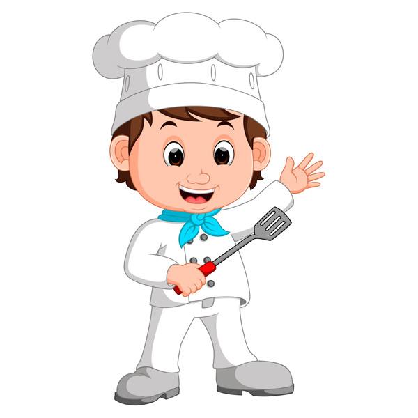 关键词: 拿着锅铲的卡通厨师矢量素材,卡通厨师,小厨师,厨师帽,可爱