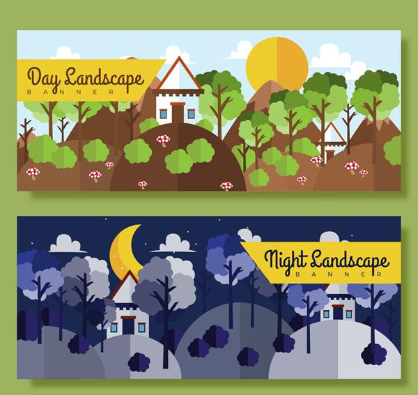 白天和黑夜风景banner矢量图,蘑菇,灌木,山坡,月亮,云朵,太阳,自然,山
