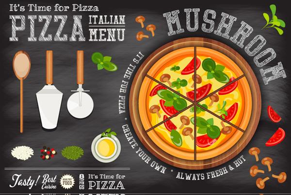 点 关键词: 美味意大利披萨菜单设计矢量图,披萨刀,蘑菇,番茄,黑板画