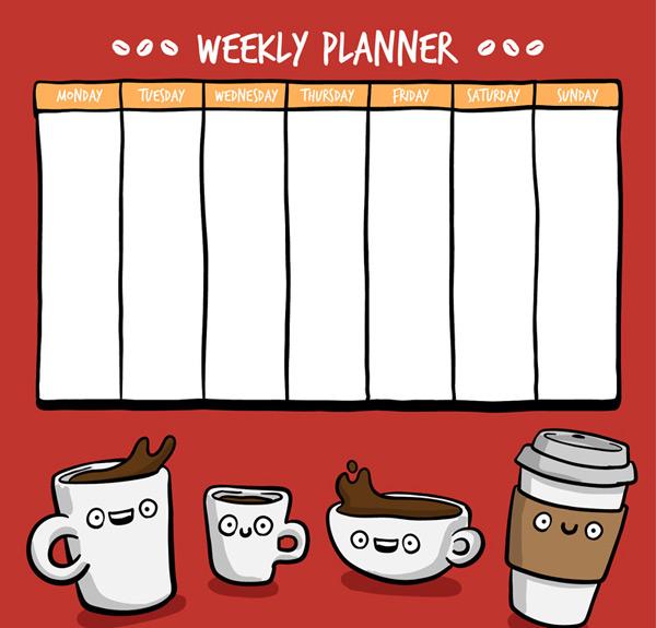 平面广告所需点数: 0 点 关键词: 卡通咖啡装饰周计划表矢量素材