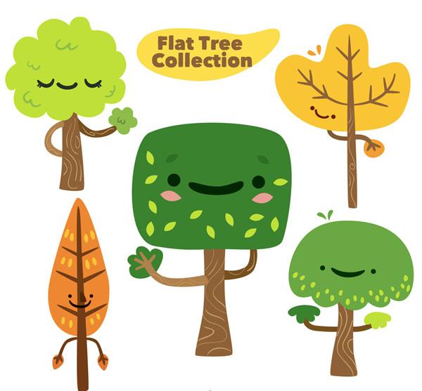 0 点 关键词: 5款可爱表情树木矢量素材,笑脸,植物,扁平化,树木,表情
