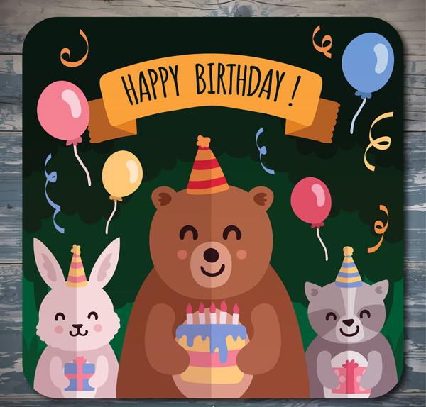 素材分类: 矢量生日所需点数: 0 点 关键词: 3款可爱动物生日贺卡