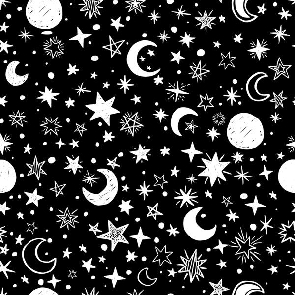 星星月亮无缝背景