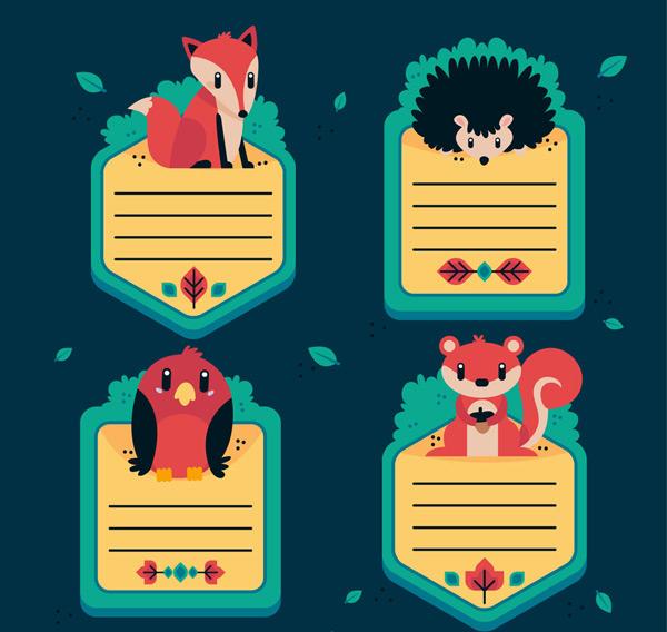狐狸,灌木,刺猬,叶子,鸟,松鼠,橡子,动物,留言卡,卡片,矢量图,ai格式