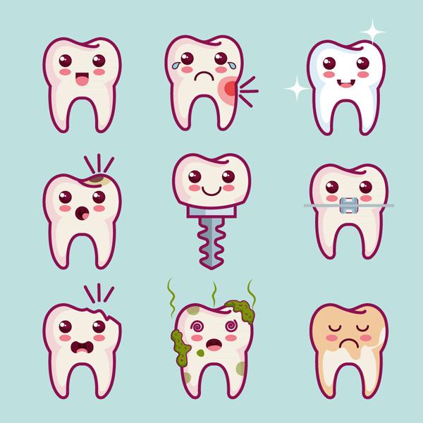 0 点 关键词: 9款卡通牙齿设计矢量素材,烤瓷牙,种植牙,牙周炎,牙菌