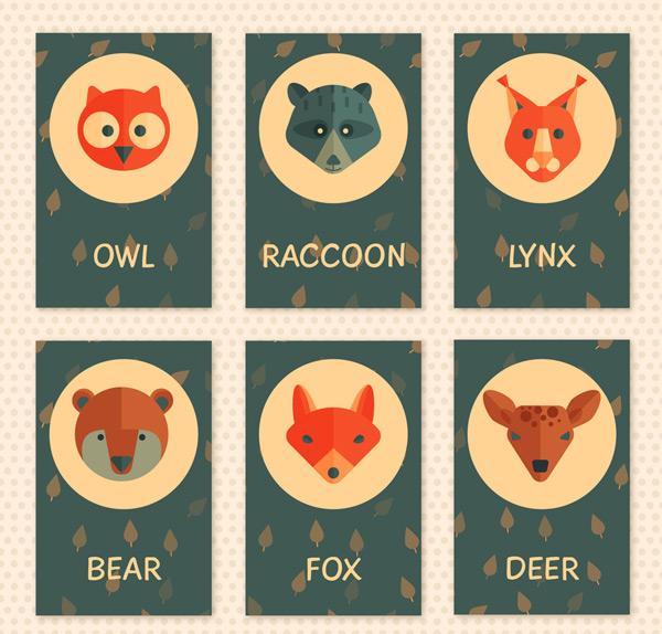 0 点 关键词: 6款可爱动物头像卡片设计矢量图,树叶,浣熊,熊,森林