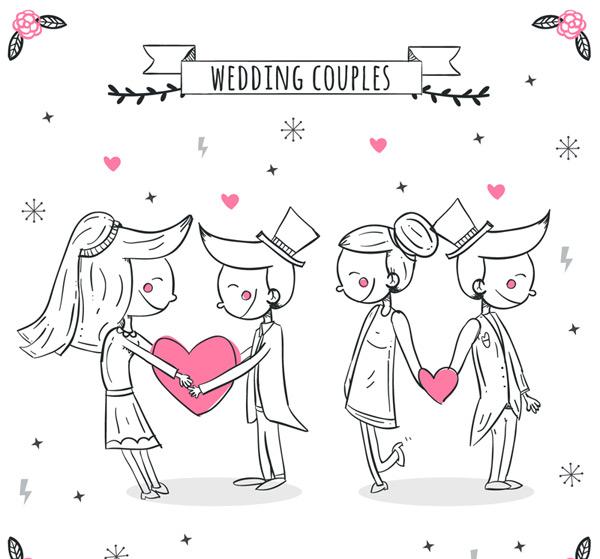 2对手绘婚礼新人矢量素材,爱心,条幅,丝带,花卉,婚礼,新人,新娘,新郎