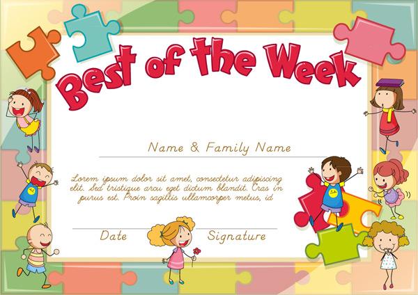 素材分类: 平面广告所需点数: 0 点 关键词: 可爱本周最佳儿童奖状