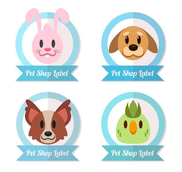 0 点 关键词: 4款可爱宠物店动物头像标签矢量图,兔子,狗,柯基犬