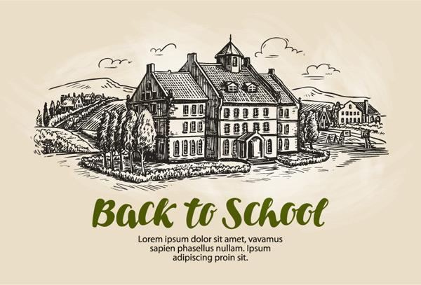 0 点 关键词: 手绘欧式乡间校园建筑矢量素材,田地,树木,草地,返校