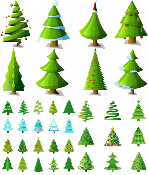 卡通圣诞树矢量图片
