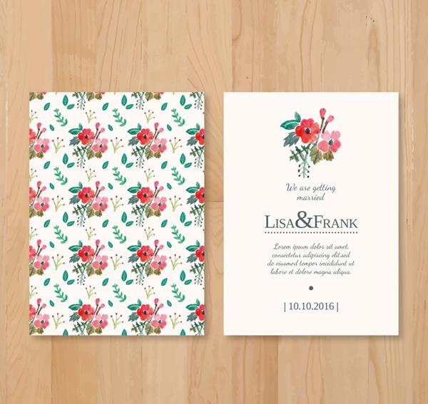 花朵婚礼邀请卡