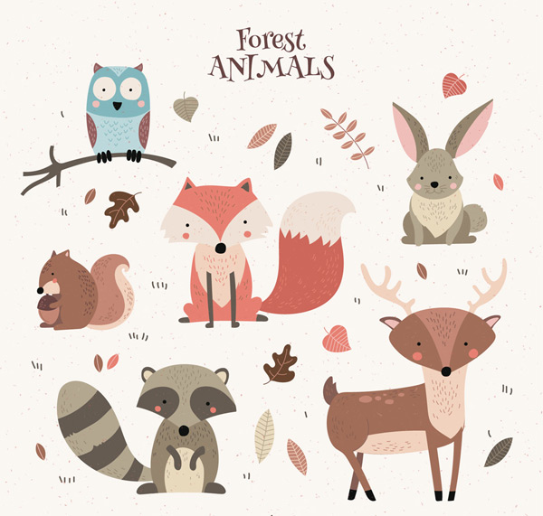 猫头鹰,叶子,狐狸,兔子,松鼠,浣熊,鹿,彩绘,森林,动物,矢量图,ai格式