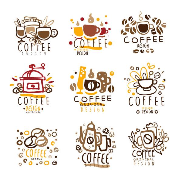 彩绘咖啡标志