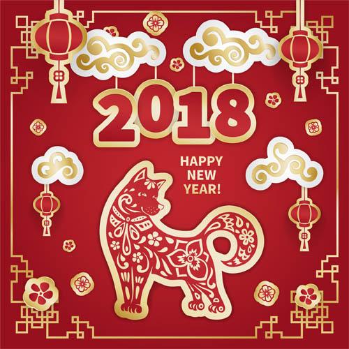 创意设计,节日素材,新年,春节,2018,狗年,戊戌年,花纹,小狗,剪纸,古典图片