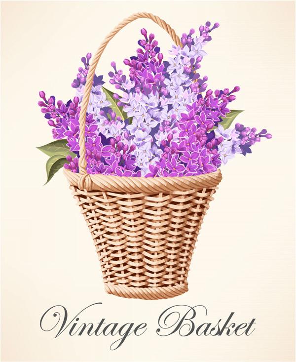 紫丁香花篮矢量