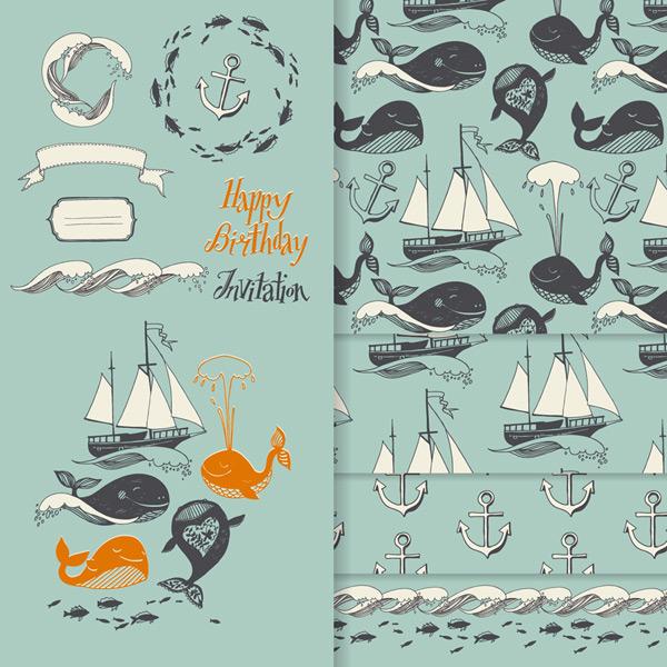 矢量背景所需点数: 0 点 关键词: 11款海洋元素和鲸鱼4款无缝背景矢量