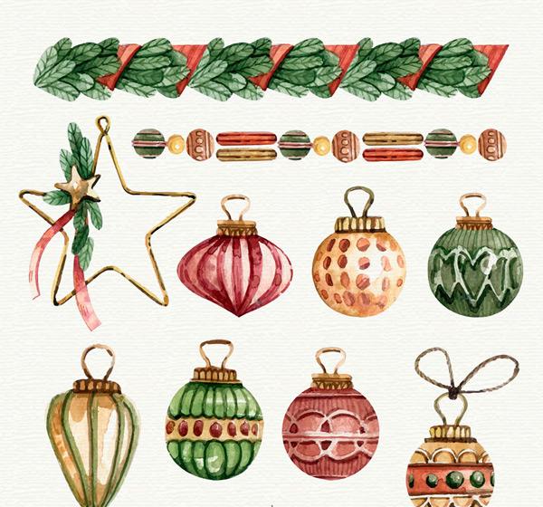 水彩圣诞吊球挂饰