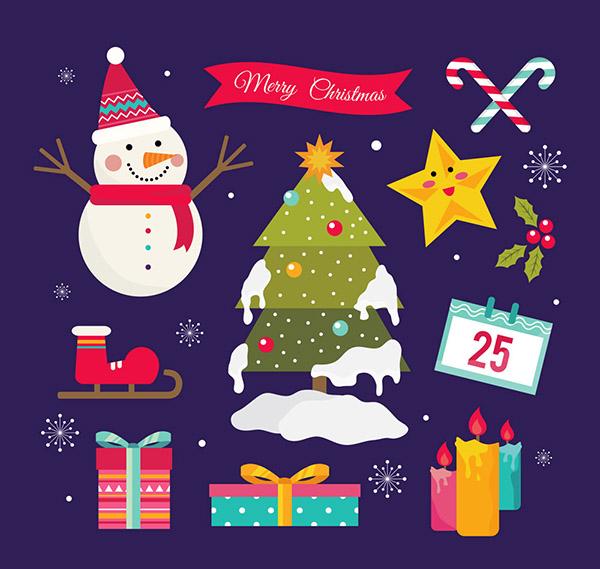 0 点 关键词: 9款可爱圣诞元素矢量素材,雪人,圣诞树,积雪,雪花,星星