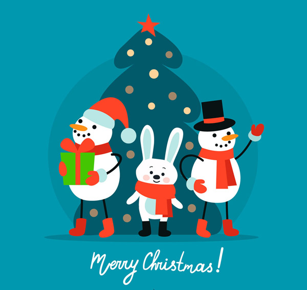 素材分类: 矢量圣诞节所需点数: 0 点 关键词: 可爱圣诞雪人和兔子