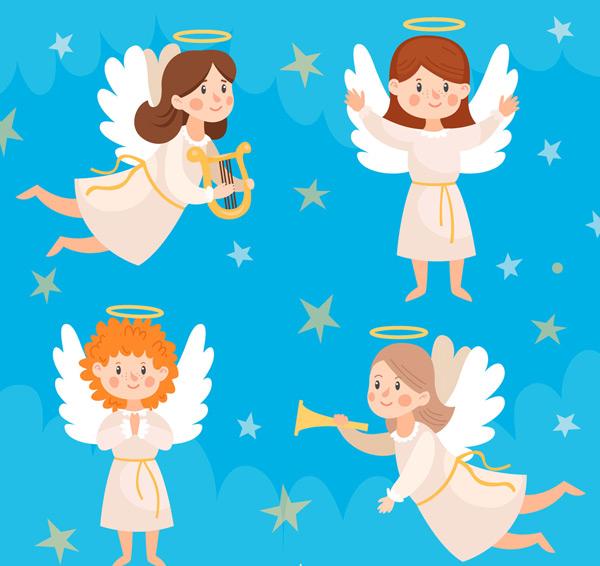 素材分类: 矢量卡通角色所需点数: 0 点 关键词: 4款可爱白色天使