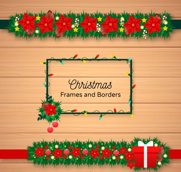 圣诞节框架和花边