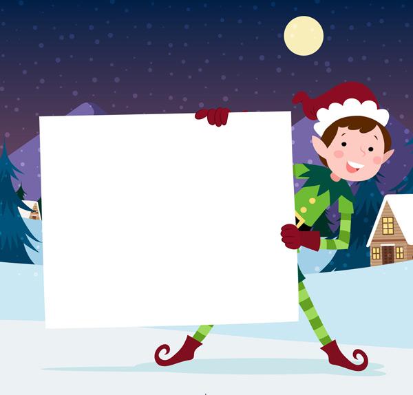 雪地,雪花,房屋,夜晚,月亮,圣诞节,白纸板,圣诞精灵,矢量图,ai格式 下